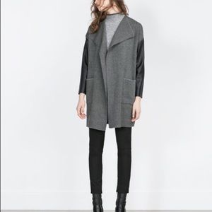 Zara All-black Long Faux Leather Sleeved Cardigan